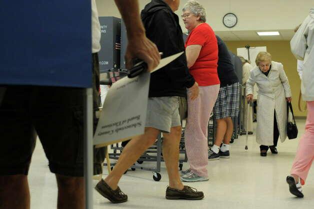 Voters partico[ate in school elections at Niskayuna High School in 2013 in Niskayuna, NY. (Paul Buckowski / Times Union archive) Photo: Paul Buckowski / 10022838A