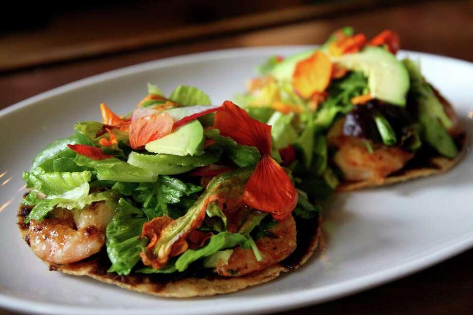 Tostadas de Camaron con Flor de Calabaza (tostadas with shrimp and squash blossoms) Photo: Courtesy Photo / ONLINE_YES