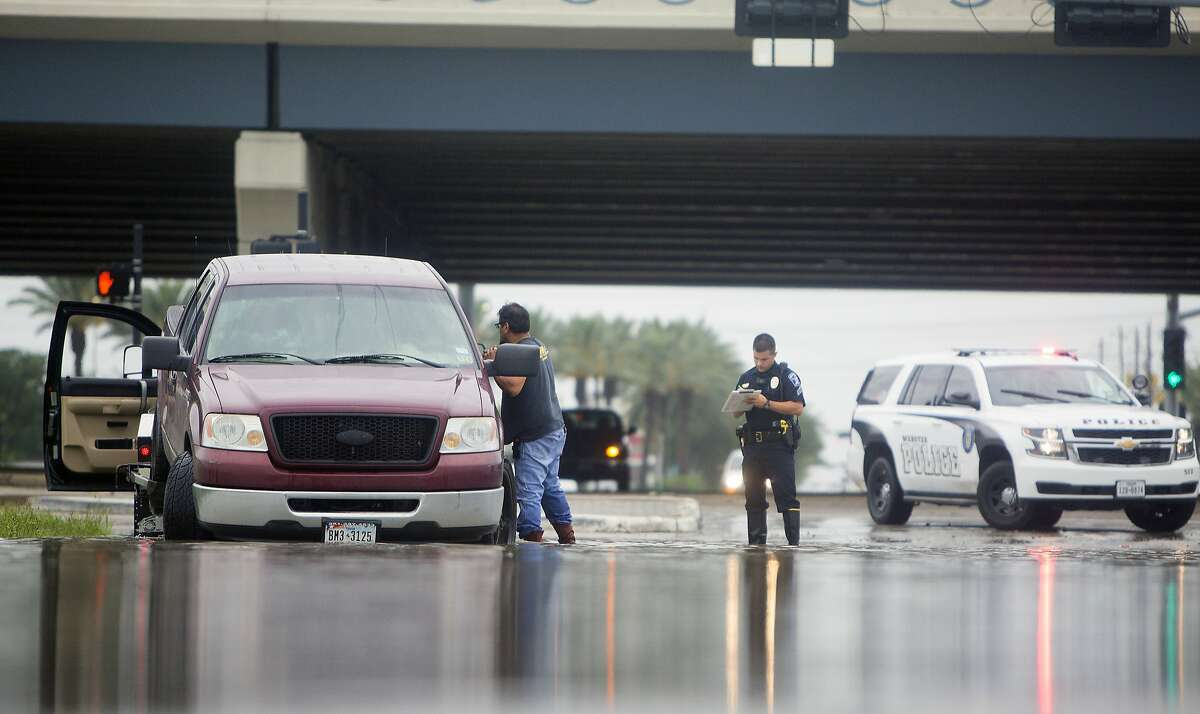 Webster Flooding Date: May 12, 2015 Details: Parts of Brazoria County received up to 8 inches of rain and parts of Galveston and Harris counties received between 10-14 inches of rain. In this photo: A tow truck driver works to remove a stalled vehicle in flood waters, Wednesday, May 13, 2015, in Webster, Texas. The National Weather Service issued flash flood warnings Wednesday for many regions in south Texas. (Cody Duty(/Houston Chronicle via AP) MANDATORY CREDIT
