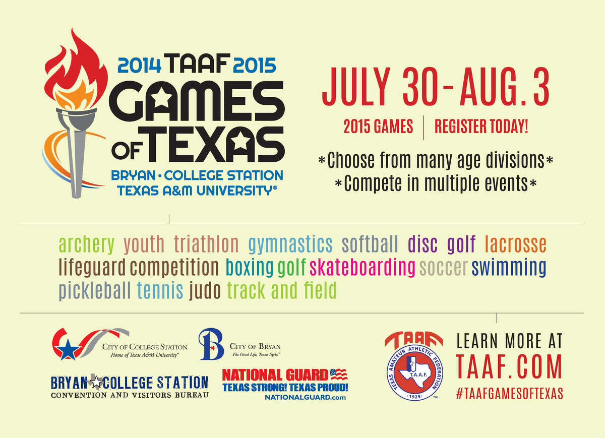 Let the Games begin! The TAAF Games of Texas, that is. The multi-sport festival starts July 30 and runs through Aug. 3 at venues across Bryan-College Station, Texas. What are the Games of Texas? Imagine a state version of the Olympics that will consist of 16 sporting events. For complete details and to register, visit www.taaf.com.