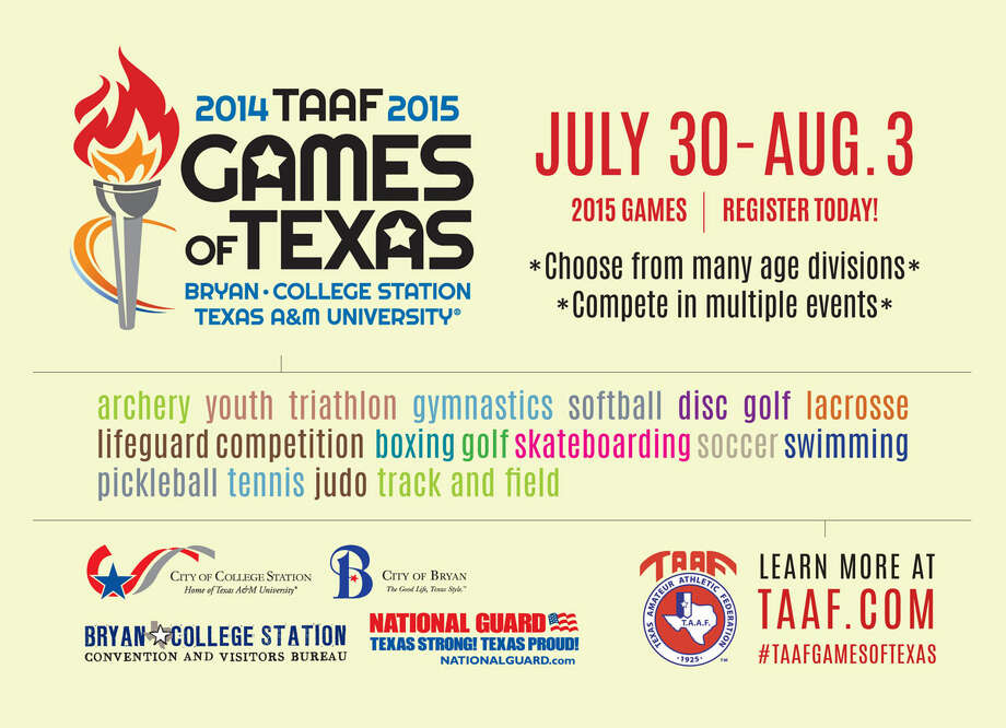 Let the Games begin!  The TAAF Games of Texas, that is. The multi-sport festival starts July 30 and runs through Aug. 3 at venues across Bryan-College Station, Texas. What are the Games of Texas? Imagine a state version of the Olympics that will consist of 16 sporting events. For complete details and to register, visit www.taaf.com. Photo: Photo Courtesy Of City Of College Station