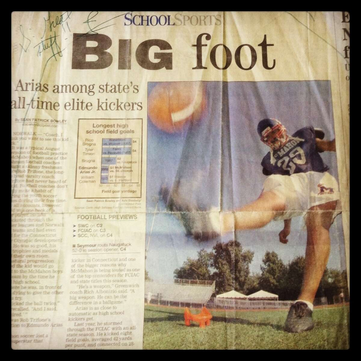 September 17, 2004: My first story for Connecticut Post: A feature on McMahon kicker Edmundo Arias. Below that, my first column on Ridgefield coach Kevin Callahan and his Fairfield Warde son.