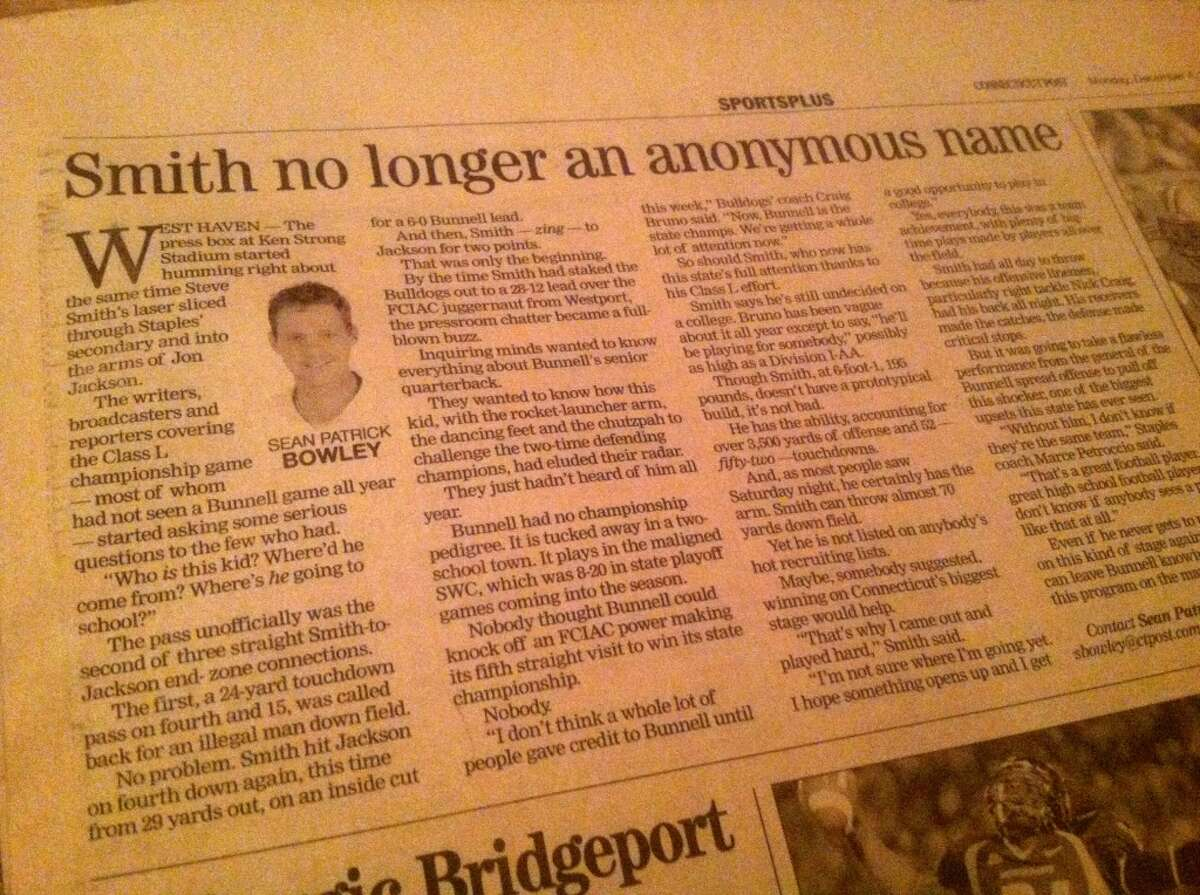 The aftermath column. Steve Smith put Bunnell on the map.