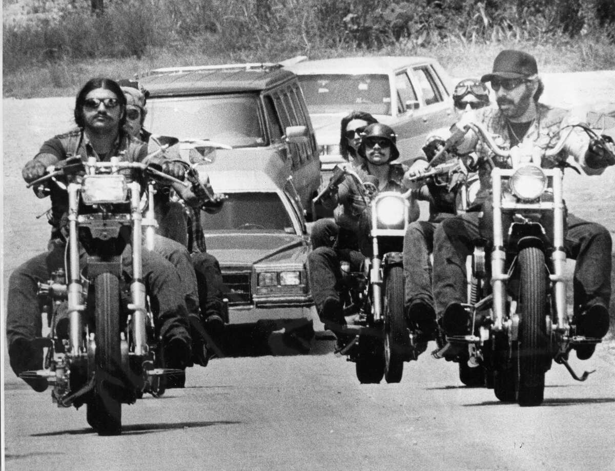 This funeral procession forBandidos memberSteve Jonas took him to his grave site at Zion Lutheran Church on July 20, 1983.