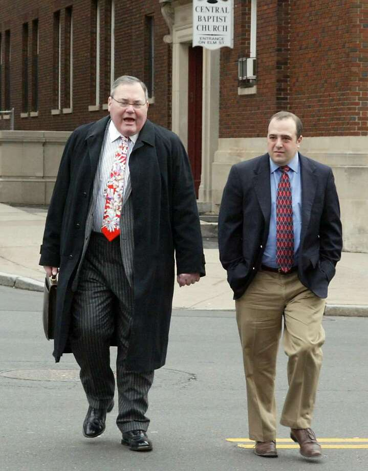 Congressman Chris Shays former campaign manager (R) Michael Sohn and his attorney (L) Harold James Pickerstein arrive at the federal court in downtown Hartford, Conn. on Thursday,  March 11, 2010. Sohn has applied for permission to plead guilty on charges of embezzling campaign funds. Photo: Phil Noel / Connecticut Post