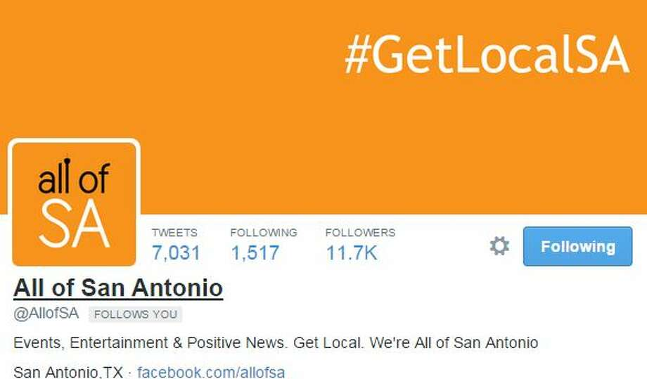 "1. @AllofSA""Events, Entertainment & Positive News. Get Local. We're All of San Antonio""Because the President, along with San Antonians, should know all about the city.  Photo: Mendoza, Madalyn S, Twitter.com"