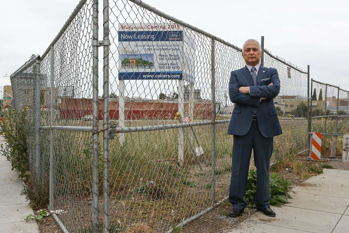 Developer Sid Afshar at the site on Foothill Blvd. and Seminary Ave. in East Oakland, a blighted area that he's proposing to transform into a thriving retail corridor on Monday, May 18, 2015.