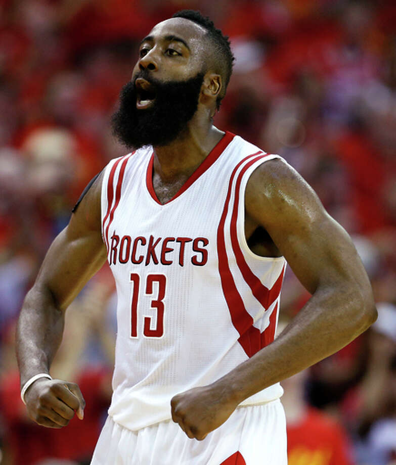 Houston Rockets guard James Harden (13) reacts to scoring on the Los Angeles Clippers during the third quarter of Game 7 of the NBA Western Conference semifinals at the Toyota Center Sunday, May 17, 2015, in Houston.  ( James Nielsen / Houston Chronicle  via AP)  MANDATORY CREDIT Photo: James Nielsen / Associated Press / Houston Chronicle