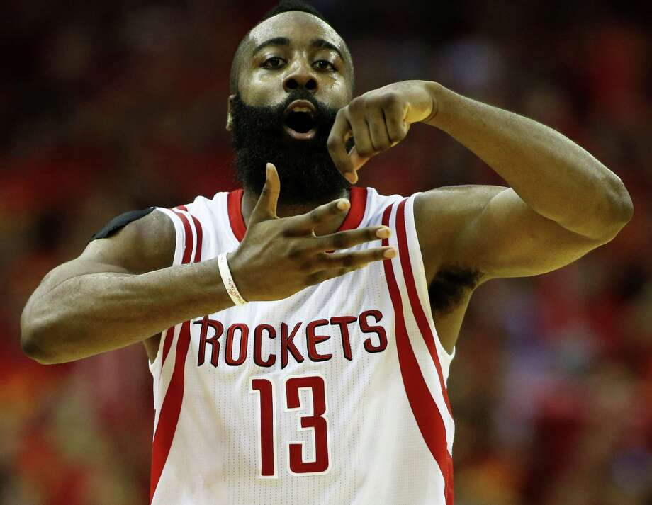 James Harden of the Houston Rockets celebrates in the fourth quarter against the Los Angeles Clippers during Game 7of the Western Conference semifinals at the Toyota Center in Houston. Photo: Scott Halleran /Getty Images / 2015 Getty Images