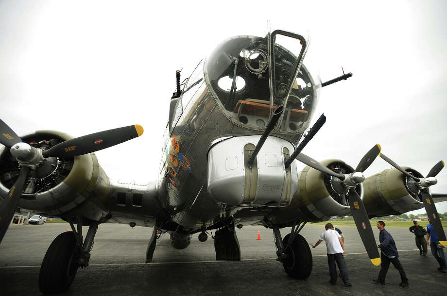 "The World War Two B-17 bomber ""Yankee Lady"", based outside of Detroit, Michigan, visits Sikorsky Airport in Stratford, Conn. on Monday, May 18, 2015. The plane will be at the airport through Wednesday. Photo: Brian A. Pounds / Connecticut Post"