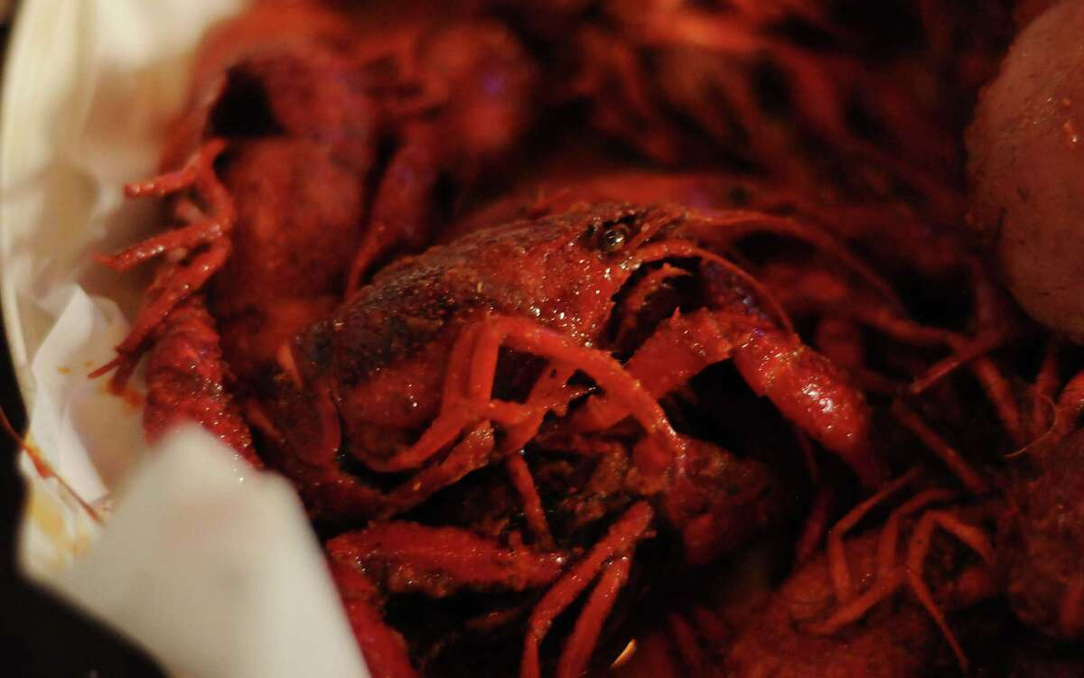 A crawfish platter at BB's in the Heights.