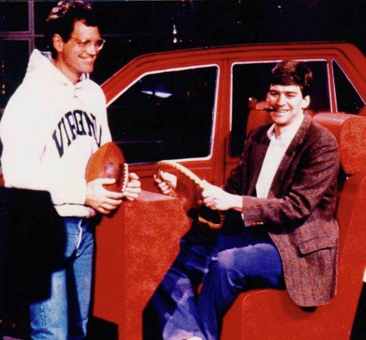David Letterman and Jeff Martin, backstage, in the 1980s.