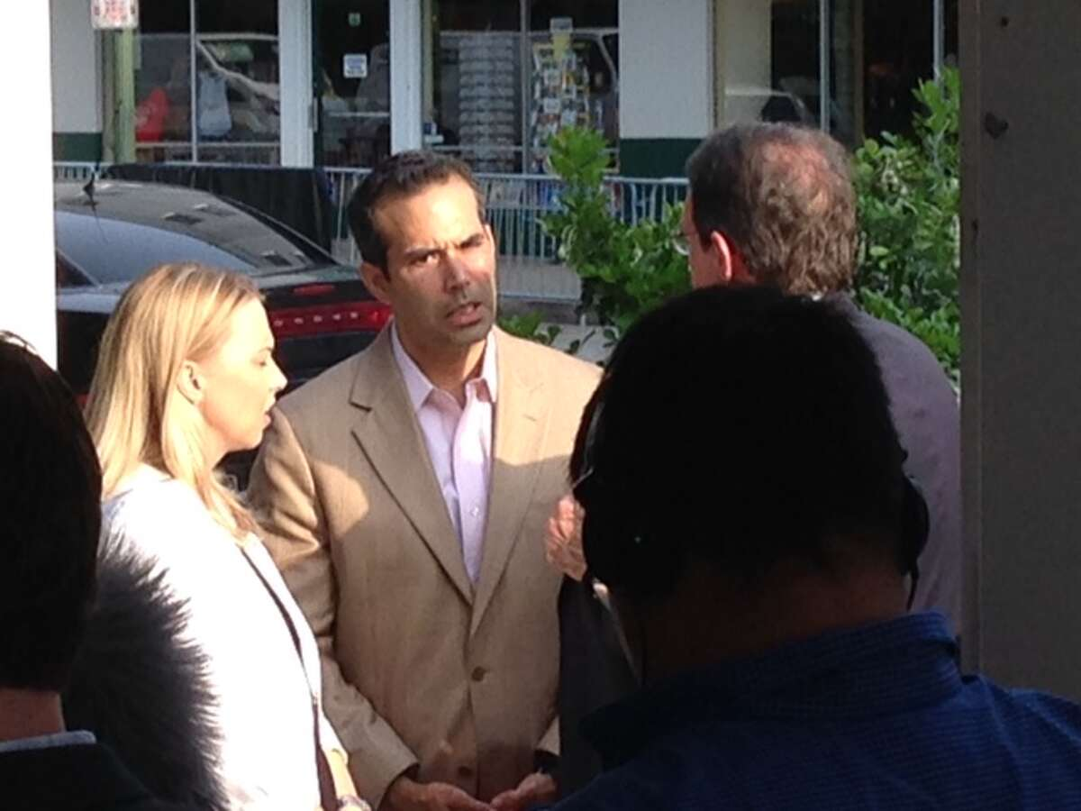 George P Bush arrives at the Texas Rising preview at the Alamo.
