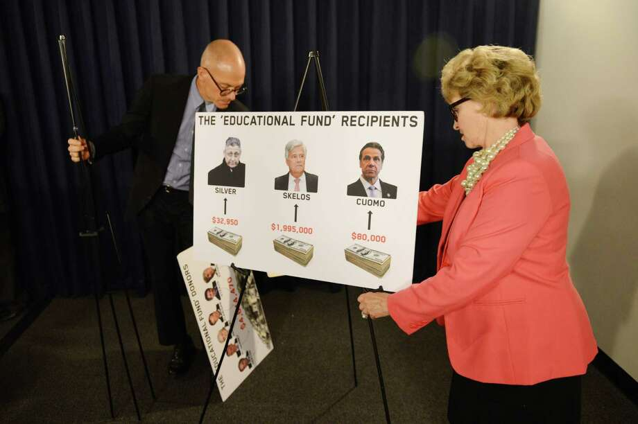 Barbara Bartoletti, League of Women Voters legislative director, right, adjusts a visual aid at the start of a press conference where opponents of Gov. Andrew Cuomo's education tax credit proposal gathered to express their concerns Monday afternoon, May 18, 2015, at the Legislative Office Building in Albany, N.Y. (Will Waldron/Times Union) Photo: WW / 00031885A