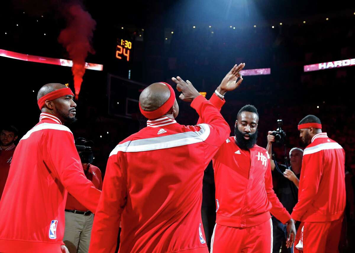 James Harden, shown during introductions before the Rockets' Game 7 win over the Clippers on Sunday, said the team has turned its full focus to the Warriors and Tuesday's Game 1.
