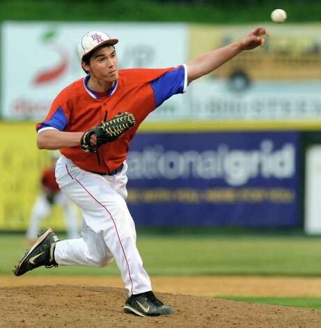 Maple Hill 's pitcher Tommy Miller releases a pitch during their Section II Class C final baseball game against Hoosic Valley on Thursday, May 29, 2014, at Bruno Stadium in Troy, N.Y. (Cindy Schultz / Times Union) Photo: Cindy Schultz / 00027088A
