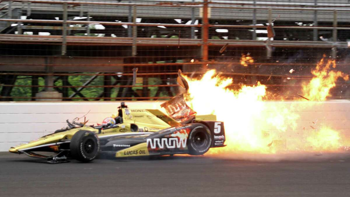 James Hinchcliffe hits the wall during practice Monday, suffering injuries that required surgery to his left leg.