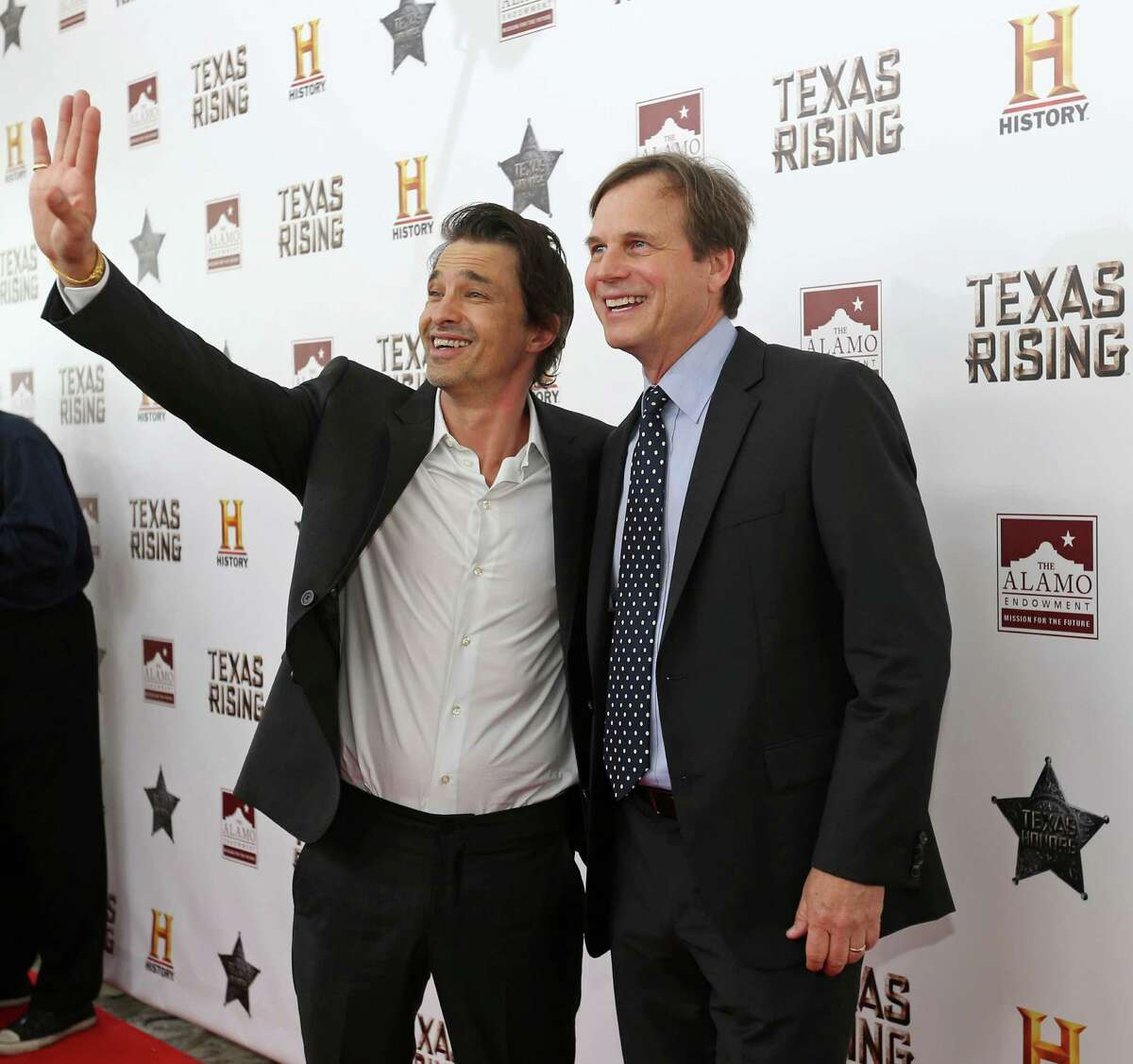 'Texas Rising' cast members Olivier Martinez (left), and Bill Paxton pose on the red carpet during the Texas Honors event Monday May 18, 2015 at the Alamo. The event served as a preview for History channel's epic series 'Texas Rising' that premieres Memorial Day Monday May 25, 2015 at 9 PM ET on History and as the launch of a fundraising campaign for the Alamo Endowment. The endowment is a nonprofit entity chaired by Texas Land Commissioner George P. Bush that raises money for the preservation and improvement of the Alamo.