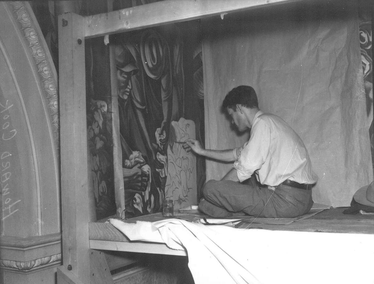 """Caption published May 16, 1939, in the Light: """"Howard Cook, mural painter, finishing work at post office,"""" said a May 16, 1939 caption under this photo in the San Antonio Light. It added that the New Mexico artist was six months ahead of schedule on his $12,000 project."""""""