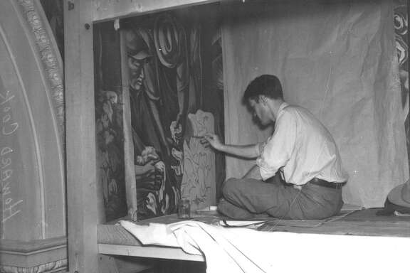 "Caption published May 16, 1939, in the Light: ""Howard Cook, mural painter, finishing work at post office,"" said a May 16, 1939 caption under this photo in the San Antonio Light. It added that the New Mexico artist was six months ahead of schedule on his $12,000 project."""