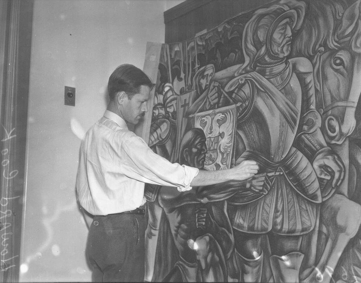 Howard Cook, New Mexico resident, works on preliminary sketches for a mural for the downtown San Antonio post office. This photo was published in the Light on Dec. 1, 1937.