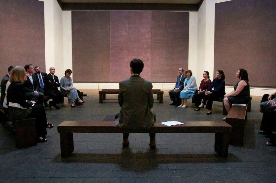 Christopher Rothko, center, son of legendary, late Abstract Expressionist painter Mark Rothko, at the Rothko Chapel, where he led a tour for a private group.  (For the Chronicle/Gary Fountain, May 15, 2015) Photo: Gary Fountain, Freelance / Copyright 2015 by Gary Fountain