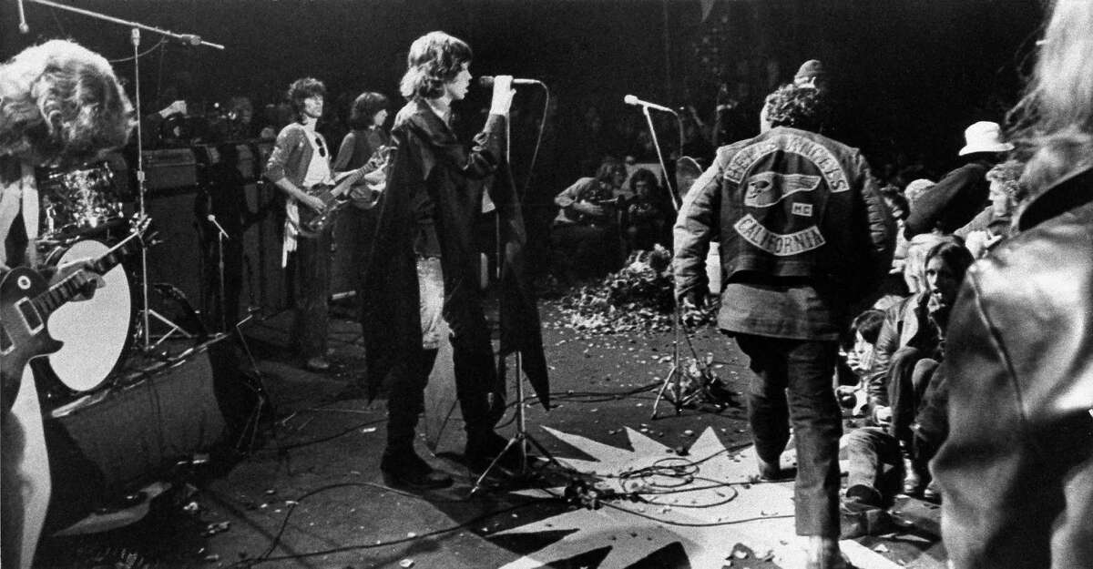 December 6, 1969: Altamont Rock Festival, Livermore. At the infamous Gimme Shelter concert, the Rolling Stones hired the Hells Angels to help police this outdoor concert which erupted into violence and ended with a fan beng stabbed to death. (AP Photo)