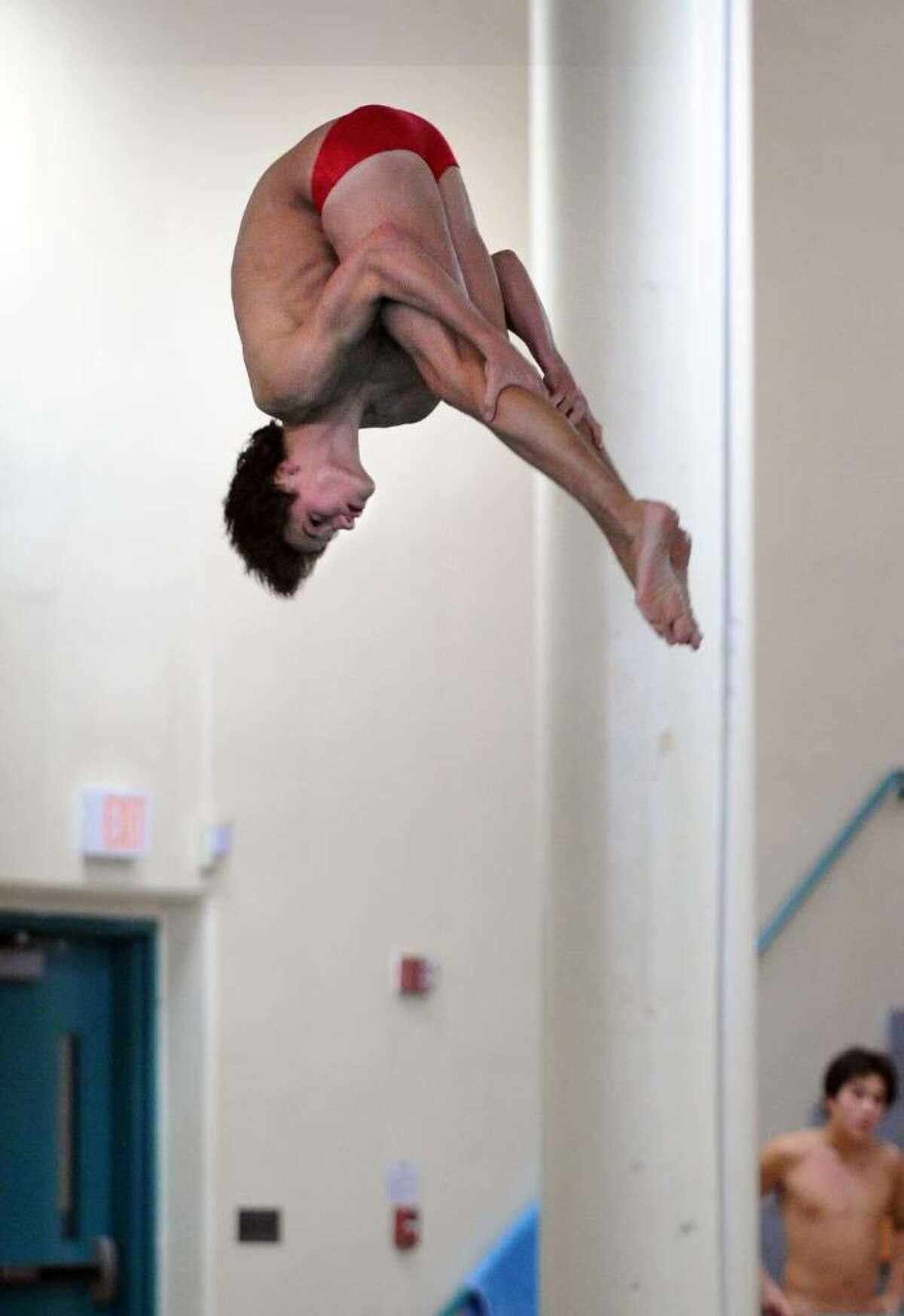 Greenwich's Connor Brisson competes in the Class LL Diving Championship Thursday Mar. 11, 2010 at Hamden High School.
