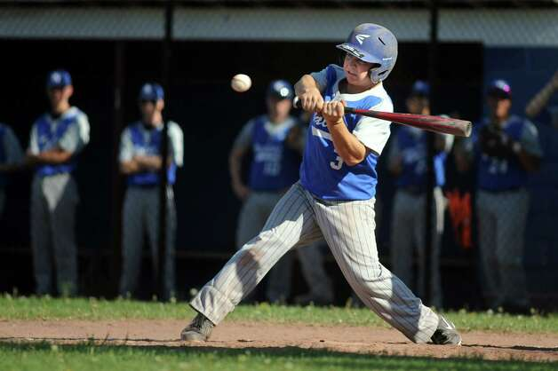 Hoosic Valley's Alex Cario bats during their baseball game against Greenwich on Thursday, May 14, 2015, at Hoosic Valley High in Schaghticoke, N.Y. (Cindy Schultz / Times Union) Photo: Cindy Schultz, Albany Times Union / 10031838A