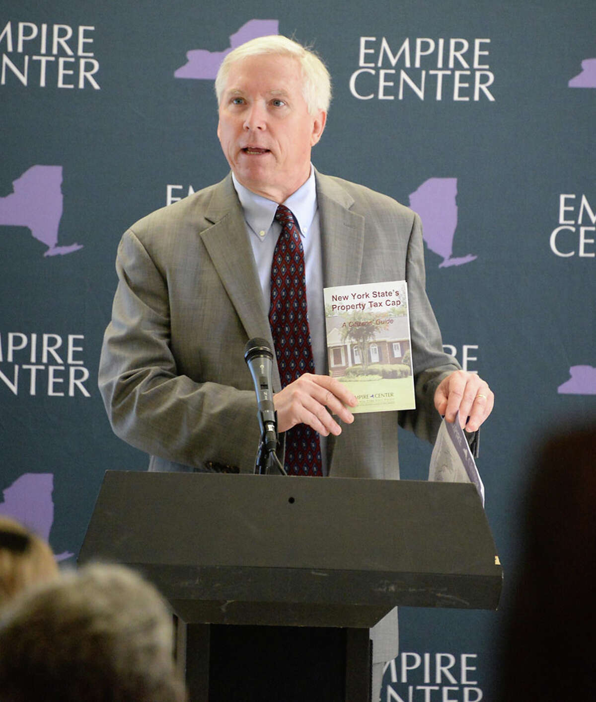 E.J. McMahon of Empire State Center for Public Policy speaks at a press conference calling for a permanent tax cap Tuesday May 19, 2015 in Albany, NY. (John Carl D'Annibale / Times Union)