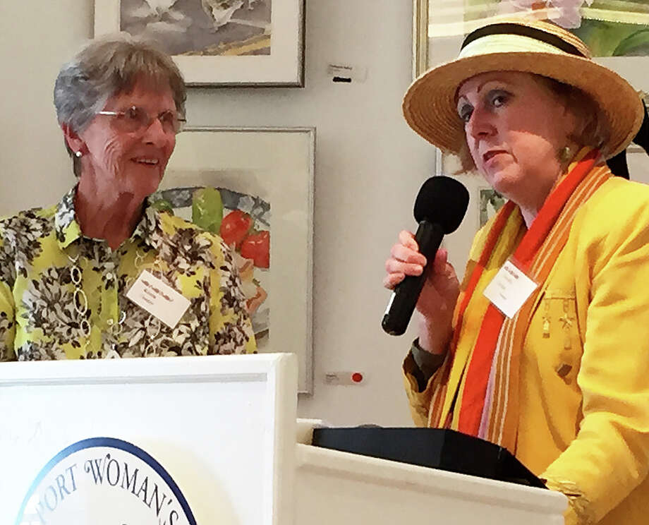 Karen Center, left, receives the Westport Woman Club's Most Active Member Award from Dorothy Curran, WWC president. Photo: Contributed Photo / Westport News