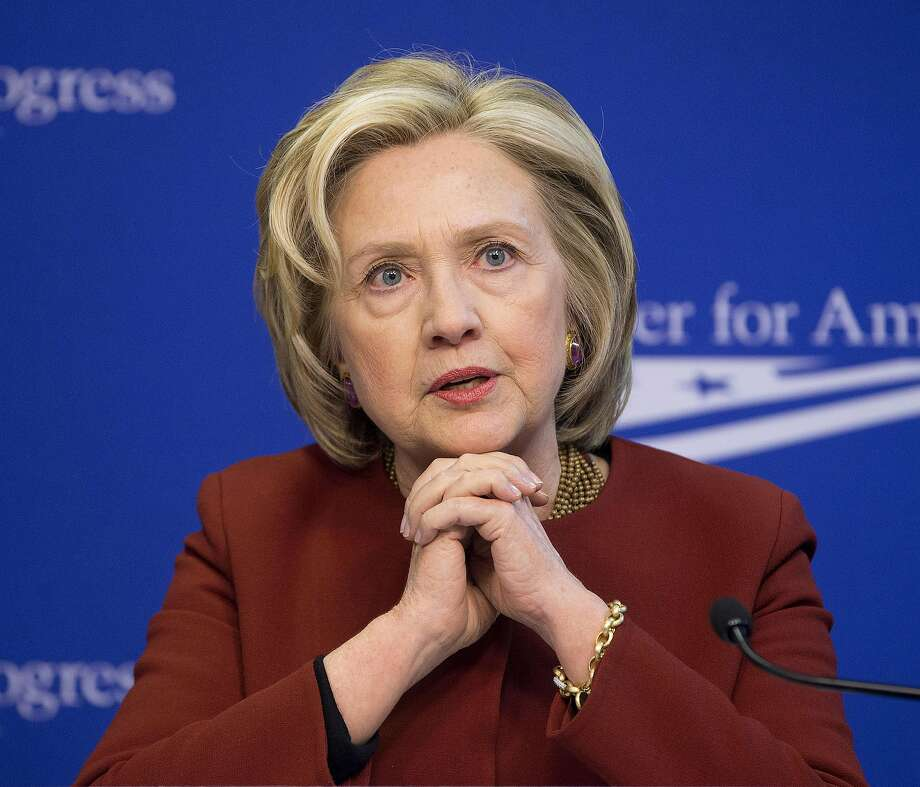 File- This file photo of March 23, 2015, shows former Secretary of State Hillary Rodham Clinton speaking at an event hosted by the Center for American Progress (CAP) and the America Federation of State, County and Municipal Employees in Washington. The State Department has proposed releasing portions of 55,000 pages of emails from Clinton by next January. The department made the proposal in a federal court filing Monday. May 18, 2015, in a Freedom of Information Act lawsuit by Vice News. (AP Photo/Pablo Martinez Monsivais, File) Photo: Pablo Martinez Monsivais, Associated Press