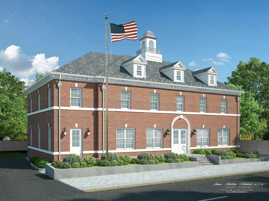 There are concerns about safe and sufficient parking at the proposed Post Office at 18-26 Locust Ave., seen here in a rendering of the design of the two story Federal style brick building proposed by LJ18 Properties LLC. Photo: Contributed Photo / New Canaan News
