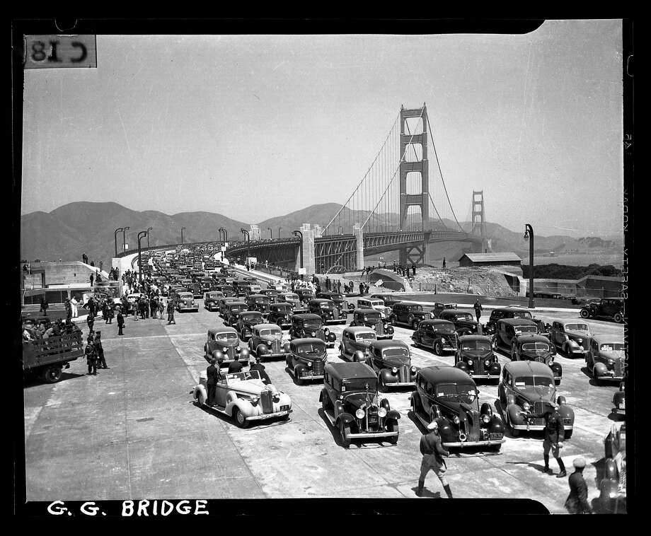 Auto parade on the opening day of the Golden Gate Bridge heading southbound on May 27, 1937. San Francisco Chronicle archive photos of the Golden Gate Bridge construction and opening to the public. The city of San Francisco will celebrate the Golden Gate Bridge's 75th anniversary on Sunday, May 27, 2012. Photo: Chronicle File, San Francisco Chronicle
