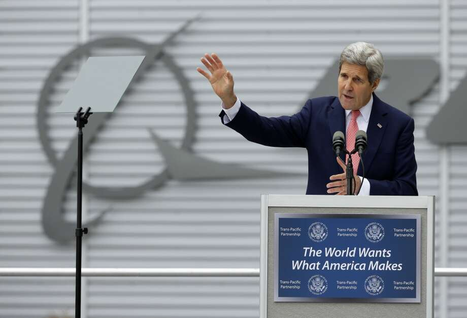 Secretary of State John Kerry speaks about trade, Tuesday, May 19, 2015, at Boeing's 737 assembly facility in Renton. Photo: Ted S. Warren, AP