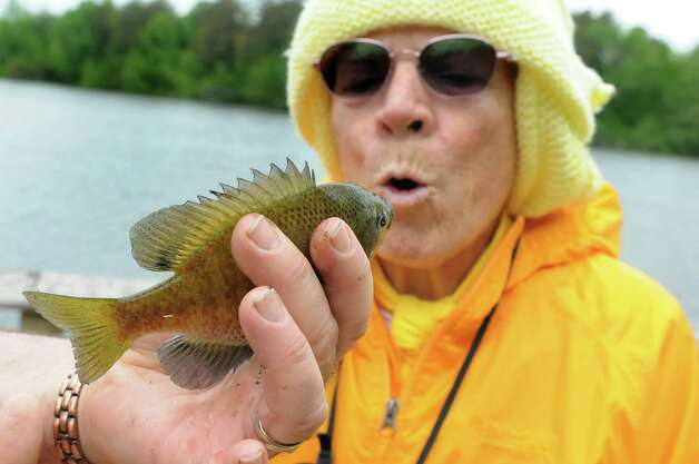 Cynthia Roberts of the Colonie Seniors mimics the mouth movements of the Blue Gill she caught during a Department of Environmental Conservation Free Sport Fishing Clinic on Tuesday, May 19, 2015, at Six Mile Waterworks in Albany, N.Y. The clinics, which are held across the state, allow would-be-fishing enthusiasts the chance to receive instruction and try the sport without a license. For more information visit www.dec.ny.gov. (Cindy Schultz / Times Union) Photo: Cindy Schultz / 00031852A