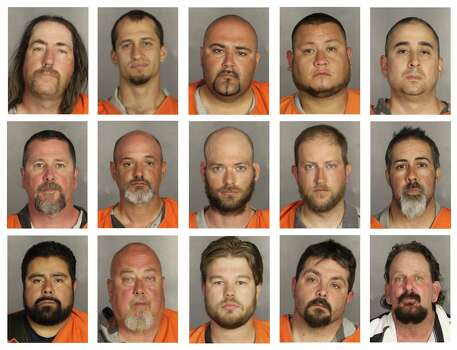 This combination of booking photos provided by the McLennan County Sheriff's office shows people arrested during the motorcycle gang related shooting at the Twin Peaks restaurant in Waco, Texas on Sunday, May 17, 2015. Top row from left; Ray Allen, Brian Brincks, Salvador Campos, Richard Cantu and David Cepeda. Middle row from left; Bohar Crump, James David, James Devoll, Matthew Folse and Juan Garcia. Bottom row from left; Mario Gonzalez, James Gray, Jim Harris, Michael Herring and Tommy Jennings.  (McLennan County Sheriff's Office via AP) Photo: AP / McLennan County Sheriff's Office