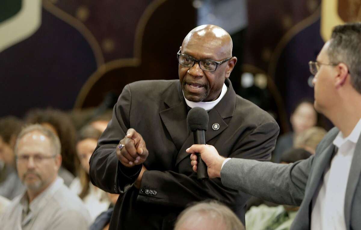 Bishop Ron Allen, founder/president of the International Faith Based Coalition comments to the panel as California Lt. Gov. Gavin Newsom's The Blue Ribbon Commission on Marijuana Policy comes to Oakland, Calif. for a public forum at the Youth Uprising Center on Tues. May 19, 2015.
