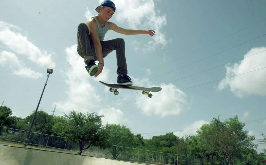 In this 2008 photo, Tyler Barton rides his skateboard at Ladybird Johnson skatepark on Nacogdoches Road. Photo: Express-News File Photo / jdavenport@express-news.net