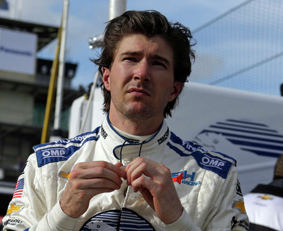 JR Hildebrand prepares to drive during practice for the Indianapolis 500 auto race at Indianapolis Motor Speedway in Indianapolis, Monday, May 11, 2015.  (AP Photo/Michael Conroy) Photo: Michael Conroy / Associated Press / AP