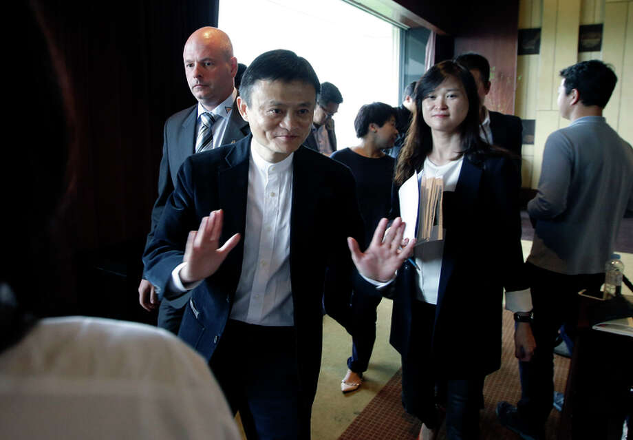 Alibaba's Jack Ma discusses the latest lawsuit over counterfeit goods on the e-commerce site. Photo: Lee Jin-man / Associated Press / AP