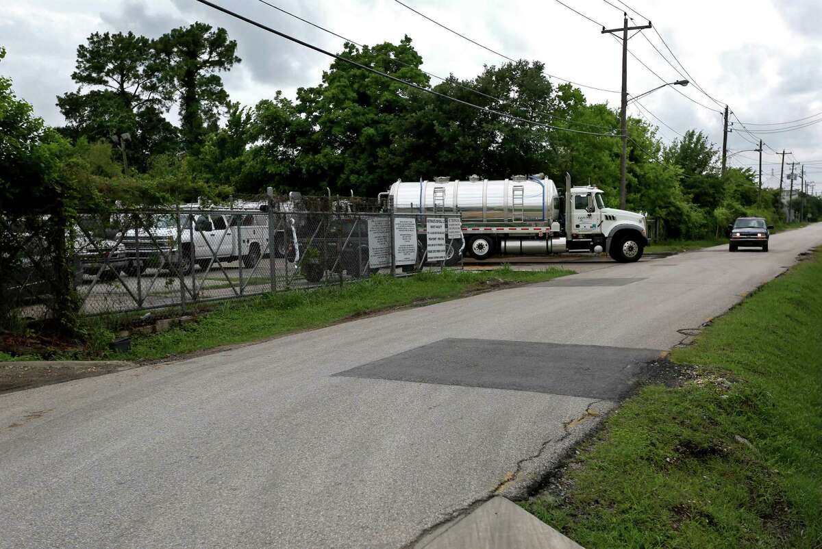 Norman Adams, property owner, not shown, complains of a foul oder coming from Southwaste Disposal, Hurst facility, located near his property along the 2500 block of 11th Street in Monday, May 18, 2015, in Houston, Texas.