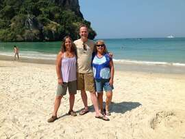 Julie Case, Kenn Deal and Edrene Case. Railay Beach Thailand, on the beach in front of the Sand Sea Resort.