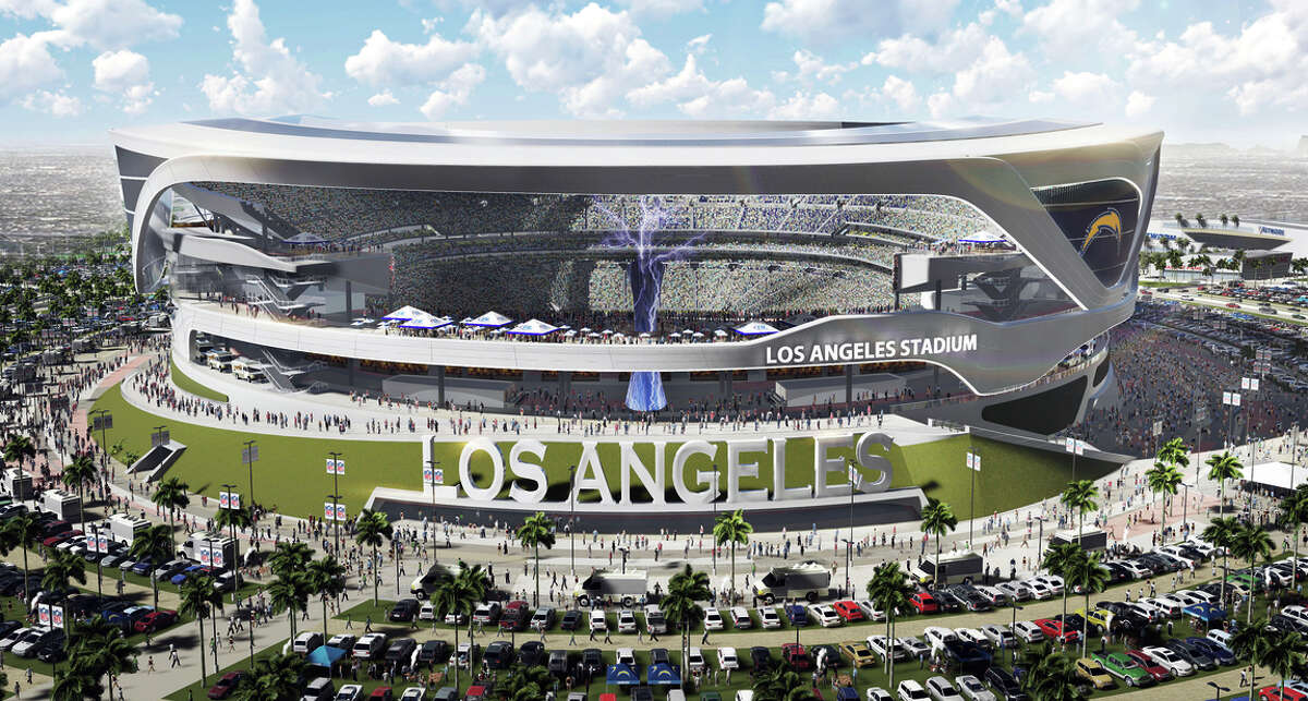 This artist's rendering shows a proposed stadium intended to house both the Raiders and Chargers football teams in Carson (Los Angeles County).