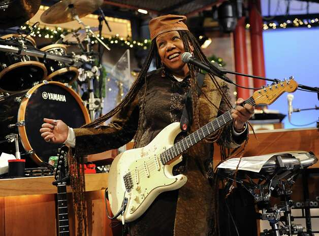 Felicia Collins, lead guitarist with the CBS Orchestra with Paul Shaffer, plays her guitar during rehearsal for the Late Show with David Letterman on Wednesday Dec. 17, 2014 in New York, N.Y. Collins grew up in Albany, graduated from Bishop Maginn High School and has had the Letterman gig since 1993. (Lori Van Buren / Times Union) Photo: Lori Van Buren / 00029836A