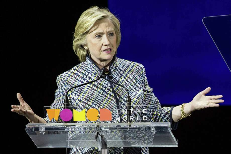 NEW YORK, NY - APRIL 23:  Democratic presidential hopeful and former Secretary of State Hillary Clinton addresses the Women in the World Conference on April 23, 2015 in New York City. Clinton is in New York City after visiting Iowa and New Hampshire.  (Photo by Andrew Burton/Getty Images) Photo: Andrew Burton, Staff / 2015 Getty Images