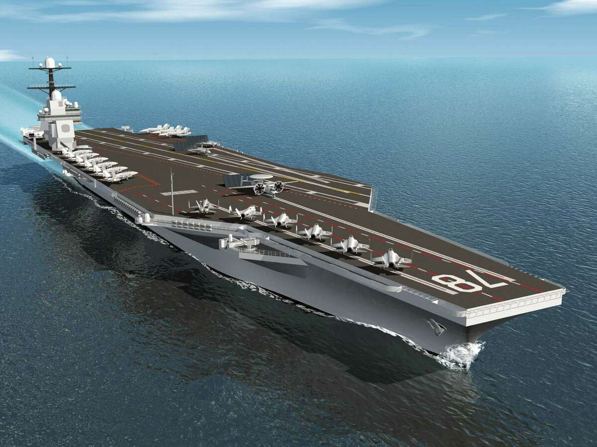 This rendering shows the USS Gerald R. Ford, set for delivery next March. Construction of the USS John F. Kennedy of the same class is already over budget.