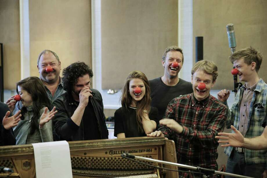 "NBC is airing ""Red Nose Day"" with Emilia Clarke (left), Mark Addy, Kit Harington, Rose Leslie, Chris Martin, Alfie Allen and Thomas Brodie-Sangster. Photo: NBC / Chris Ross / NBC / 2015 NBCUniversal Media, LLC."