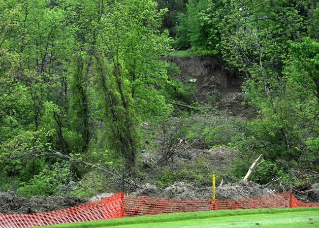 Remnants of the mudslide remain at the Capital Hills Golf Course Tuesday afternoon May 19, 2015 in Albany, N.Y.      (Skip Dickstein/Times Union) Photo: SKIP DICKSTEIN / 00031905A