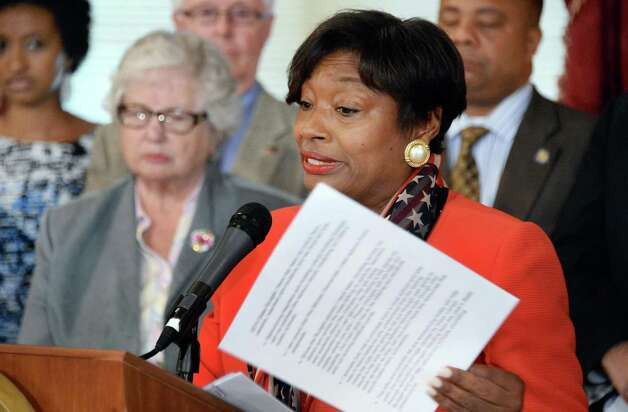 Democratic conference leader  Andrea Stewart-Cousins, right, speaks as Senate Democrats unveil an education legislative package at the Capitol Tuesday May 19, 2015 in Albany, NY.  (John Carl D'Annibale / Times Union) Photo: John Carl D'Annibale / 00031904A